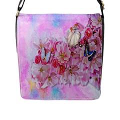 Nice Nature Flowers Plant Ornament Flap Messenger Bag (l)