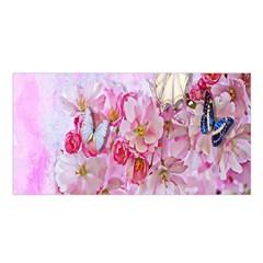 Nice Nature Flowers Plant Ornament Satin Shawl
