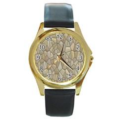 Tile Steinplatte Texture Round Gold Metal Watch