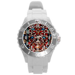 Decoration Art Pattern Ornate Round Plastic Sport Watch (l)