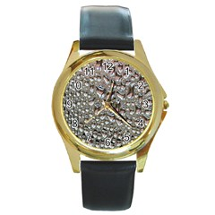 Droplets Pane Drops Of Water Round Gold Metal Watch