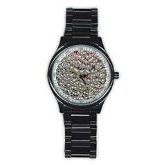 Droplets Pane Drops Of Water Stainless Steel Round Watch