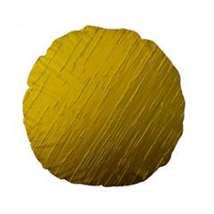 Golden Texture Rough Canvas Golden Standard 15  Premium Round Cushions