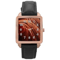 Abstract Fractal Digital Art Rose Gold Leather Watch
