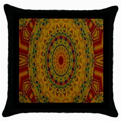 India Mystic Background Ornamental Throw Pillow Case (black)