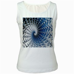 Mandelbrot Fractal Abstract Ice Women s White Tank Top