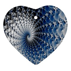 Mandelbrot Fractal Abstract Ice Heart Ornament (two Sides)