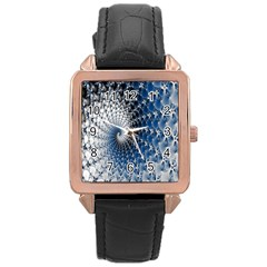 Mandelbrot Fractal Abstract Ice Rose Gold Leather Watch