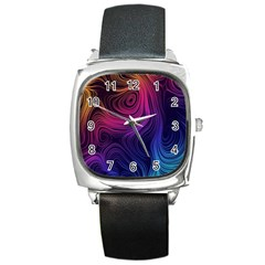 Abstract Pattern Art Wallpaper Square Metal Watch
