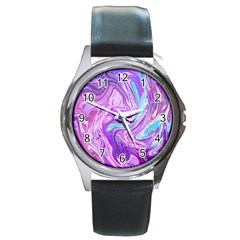 Abstract Art Texture Form Pattern Round Metal Watch