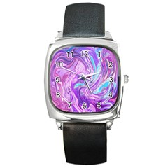 Abstract Art Texture Form Pattern Square Metal Watch