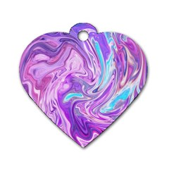 Abstract Art Texture Form Pattern Dog Tag Heart (one Side)