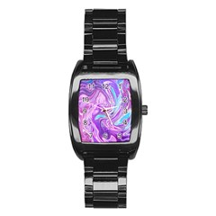 Abstract Art Texture Form Pattern Stainless Steel Barrel Watch