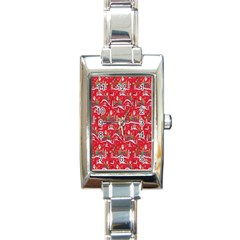 Red Background Christmas Rectangle Italian Charm Watch