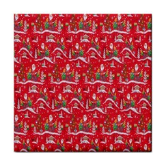 Red Background Christmas Tile Coasters