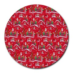 Red Background Christmas Round Mousepads