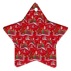 Red Background Christmas Ornament (star)