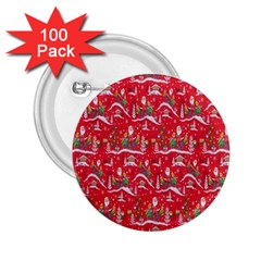 Red Background Christmas 2 25  Buttons (100 Pack)