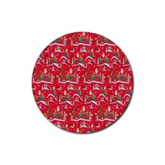 Red Background Christmas Rubber Round Coaster (4 Pack)
