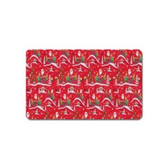 Red Background Christmas Magnet (name Card)