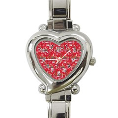 Red Background Christmas Heart Italian Charm Watch