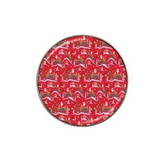 Red Background Christmas Hat Clip Ball Marker (4 Pack)