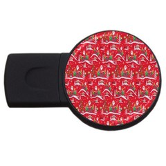Red Background Christmas Usb Flash Drive Round (4 Gb)