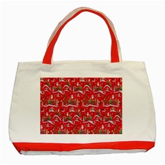 Red Background Christmas Classic Tote Bag (red)