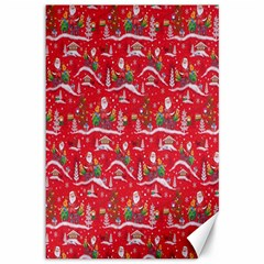 Red Background Christmas Canvas 12  X 18