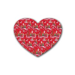 Red Background Christmas Rubber Coaster (heart)