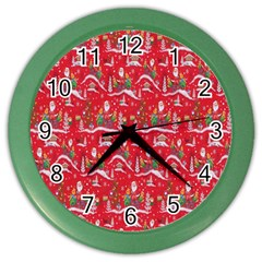 Red Background Christmas Color Wall Clocks