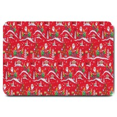 Red Background Christmas Large Doormat