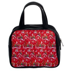 Red Background Christmas Classic Handbags (2 Sides)