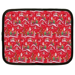 Red Background Christmas Netbook Case (xl)