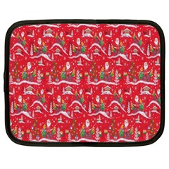 Red Background Christmas Netbook Case (xxl)