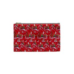 Red Background Christmas Cosmetic Bag (small)