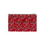 Red Background Christmas Cosmetic Bag (Small)  Back