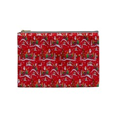 Red Background Christmas Cosmetic Bag (medium)