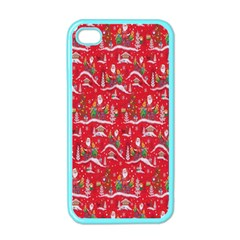Red Background Christmas Apple Iphone 4 Case (color)