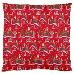 Red Background Christmas Large Cushion Case (two Sides)