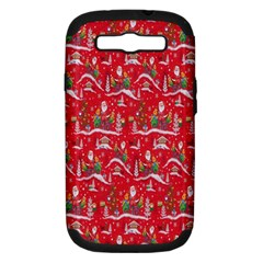 Red Background Christmas Samsung Galaxy S Iii Hardshell Case (pc+silicone)