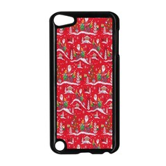 Red Background Christmas Apple Ipod Touch 5 Case (black)