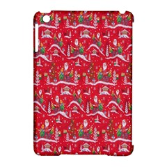 Red Background Christmas Apple Ipad Mini Hardshell Case (compatible With Smart Cover)