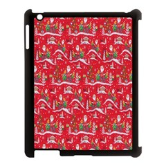 Red Background Christmas Apple Ipad 3/4 Case (black)