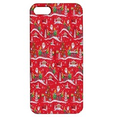 Red Background Christmas Apple Iphone 5 Hardshell Case With Stand