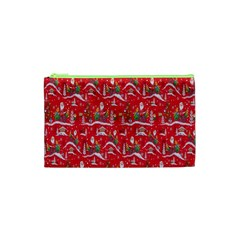 Red Background Christmas Cosmetic Bag (xs)