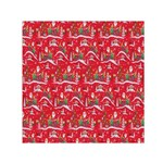 Red Background Christmas Small Satin Scarf (Square) Front