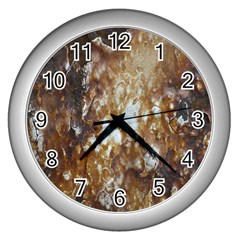 Rusty Texture Pattern Daniel Wall Clocks (silver)