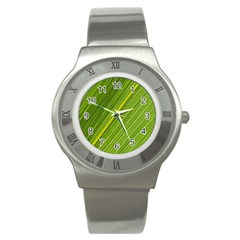 Leaf Plant Nature Pattern Stainless Steel Watch