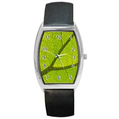 Green Leaf Plant Nature Structure Barrel Style Metal Watch